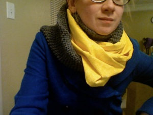 Half Fabric Half Knit Scarf