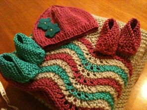 Blanket, Newborn hat, and two pairs of booties